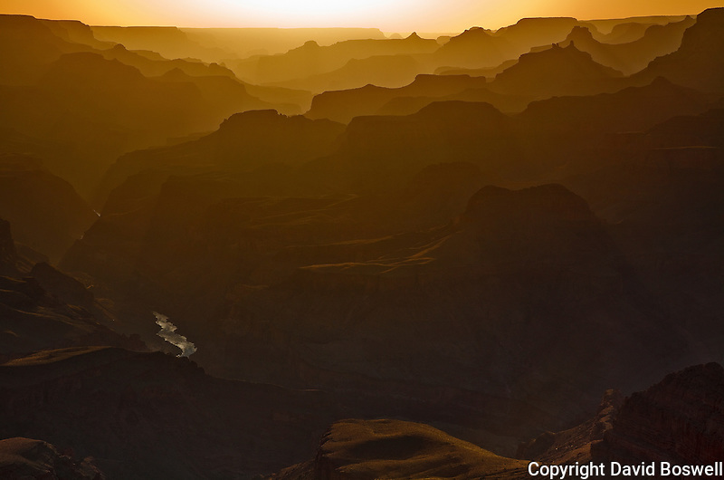 The sun sets over the Grand Canyon, taken at Lapin Point on the South Rim Drive, near Desert View