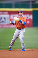Durham Bulls shortstop Daniel Robertson (28) throws to first base during a game against the Buffalo Bisons on June 13, 2016 at Coca-Cola Field in Buffalo, New York.  Durham defeated Buffalo 5-0.  (Mike Janes/Four Seam Images)