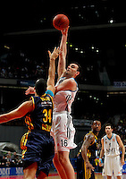Real Madrid's Mirza Begic and Alba Berlin's  Yassin Idbihi during Euroleague 2012/2013 match.February 22,2013. (ALTERPHOTOS/Javier Lopez) /NortePhoto