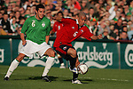 Dublin Ireland. Irelands No 6 John O'Shea is hed off by  Chile No 6 Jorge Acuna Concha during the friendly soccer international at Lansdowne road Dublin Ireland 24/5/06.Photo AFP/NEWSFILE/FRAN CAFFREY..(Photo credit should read AFP PHOTO/FRAN CAFFREY/NEWSFILE)...This Picture has been sent you under the condtions enclosed by:.Newsfile Ltd..the Studio,.Millmount Abbey,.Drogheda,.Co Meath..Ireland..Tel: +353(0)41-9871240.Fax: +353(0)41-9871260.GSM: +353(0)86-2500958.email: pictures@newsfile.ie.www.newsfile.ie.FTP: 193.120.102.198..This picture is from Fran Caffrey@newsfile.ie