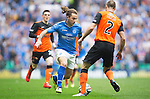 St Johnstone v Dundee United....17.05.14   William Hill Scottish Cup Final<br /> Stevie May is closed down by Sean Dillon<br /> Picture by Graeme Hart.<br /> Copyright Perthshire Picture Agency<br /> Tel: 01738 623350  Mobile: 07990 594431