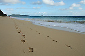Feb 25, 2007; O'ahu, HI - Foot prints at Waimanalo Beach..Photo credit: Darrell Miho