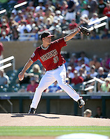 Zack Greinke pitches in his first spring training game with the Arizona Diamondbacks in a game against the Oakland Athletics at Salt River Fields on March 4, 2016 in Scottsdale, Arizona. Greinke pitched two scoreless innings in the game won by Arizona, 6-3 (Bill Mitchell)