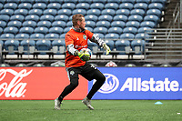 SEATTLE, WA - NOVEMBER 9: Bryan Meredith #35 of the Seattle Sounders FC throws the ball at CenturyLink Field on November 9, 2019 in Seattle, Washington.