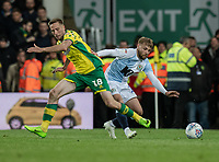 Blackburn Rovers' Harry Chapman (right) vies for possession with Norwich City's Marco Stiepermann (left) <br /> <br /> Photographer David Horton/CameraSport<br /> <br /> The EFL Sky Bet Championship - Norwich City v Blackburn Rovers - Saturday 27th April 2019 - Carrow Road - Norwich<br /> <br /> World Copyright © 2019 CameraSport. All rights reserved. 43 Linden Ave. Countesthorpe. Leicester. England. LE8 5PG - Tel: +44 (0) 116 277 4147 - admin@camerasport.com - www.camerasport.com