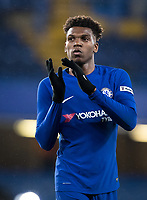Dujon Sterling of Chelsea U18 applauds the support at full time during the FA Youth Cup FINAL 1st leg match between Chelsea U18 and Arsenal U18 at Stamford Bridge, London, England on 27 April 2018. Photo by Andy Rowland.