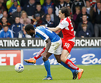 Peterborough United's Anthony Grant is tackled by Fleetwood Town's Markus Schwabl<br /> <br /> Photographer David Shipman/CameraSport<br /> <br /> The EFL Sky Bet League One - Peterborough United v Fleetwood Town - Friday 14th April 2016 - ABAX Stadium  - Peterborough<br /> <br /> World Copyright &copy; 2017 CameraSport. All rights reserved. 43 Linden Ave. Countesthorpe. Leicester. England. LE8 5PG - Tel: +44 (0) 116 277 4147 - admin@camerasport.com - www.camerasport.com