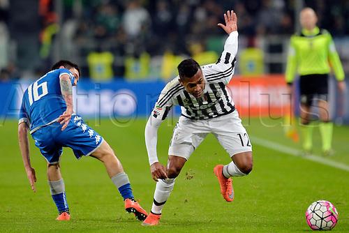 11.03.2016. Juventus Stadium, Turin, Italy. Serie A Football. Juventus versus Sassuolo. Alex Sandro avoids the challenge from Matteo Politano