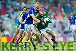 Donchadh O'Sullivan Kerry in action against Evaan Fortune Cavan in the All Ireland Minor Semi Final in Croke Park on Sunday.