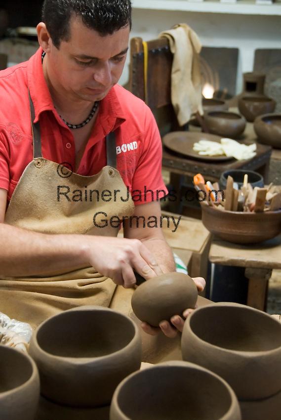 Spain, Canary Islands, La Palma, near Villa de Mazo: pottery and museum El Molino, potter at work