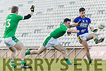 Paul Geaney Kerry in action against Johnny McCarthy and Paul White Limerick in the Final of the McGrath Cup at the Gaelic Grounds on Sunday.