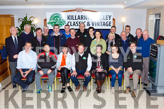 Tom Leslie Chairman of the Killarney Valley Classic and Vintage club presented the proceeds of the South Kerry Ploughing Championships to six charities in the Inisfallen Hotel Fossa on Friday night front row l-r:  James Foley Iris Pilgrimage Trust, Liam Murphy Killarney rugby Club, Theresa Looney Irish Kidney association, Tom Leslie Chairman,  Breda Dyland Kerry/Cork Health Link Association, Mary Dillane Kerry Down Syndrome, Pat O'Brien Kerry Mental association