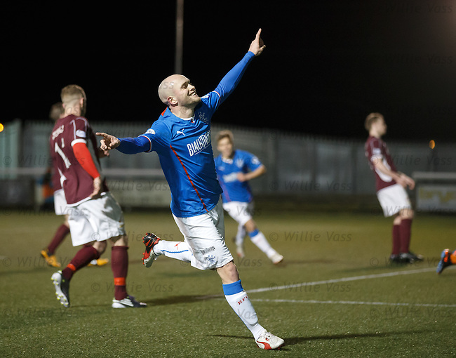 Nicky Law cekbrates after his second goal