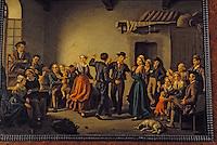 Europe/France/Auvergne/15/Cantal/Saint Flour/Musée de la Haute-Auvergne: Scène de bourrée et joueur de cornemuse