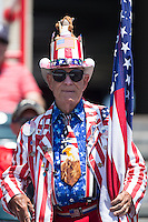 A very patriotic fan shows off his love of the United States of America as well as baseball on Memorial Day at The Diamond prior to the Eastern League game between the Bowie Baysox and the Richmond Flying Squirrels on May 25, 2015 in Richmond, Virginia.  (Brian Westerholt/Four Seam Images)