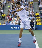 NOVAK DJOKOVIC (SRB) (1) against RAFAEL NADAL (ESP) (2) in the finals of the men's singles. Novak Djokovic beat Rafael Nadal ...Tennis - Grand Slam - US Open - Flushing Meadows - New York - Day 15 - Mpnday September 12th 2011..© AMN Images, Barry House, 20-22 Worple Road, London, SW19 4DH, UK..+44 208 947 0100.www.amnimages.photoshelter.com.www.advantagemedianetwork.com.