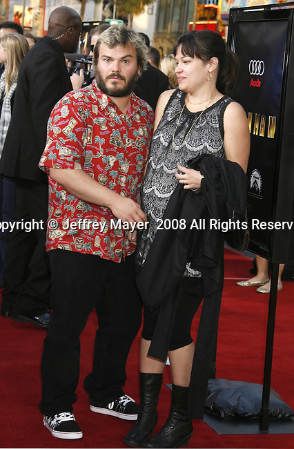 "Actor Jack Black and Tanya Haden arrive to the ""Iron Man"" premiere at Grauman's Chinese Theatre on April 30, 2008 in Hollywood, California."