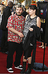 """Actor Jack Black and Tanya Haden arrive to the """"Iron Man"""" premiere at Grauman's Chinese Theatre on April 30, 2008 in Hollywood, California."""