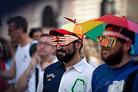 "Rome, 08/06/2019. Today, Hundreds of Thousands (700,000+ people for the organisers) of people took part in the annual ""Roma Pride"" Parade organised by the ""Circolo di Cultura Omosessuale Mario Mieli"". The LGBTQUI+ (Lesbian, Gay, Bisexual, Transgender, Queer or Questioning, and Intersex) parade marched from Piazza della Repubblica, Via Merulana, passed by the Colosseum and ended on the Fori Imperiali. <br />