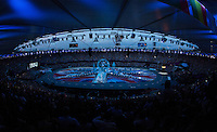 12 AUG 2012 - LONDON, GBR - Crew move props covered in a newspaper design into position before the start of the London 2012 Olympic Games Closing Ceremony in the Olympic Stadium in the Olympic Park, Stratford, London, Great Britain .(PHOTO (C) 2012 NIGEL FARROW)