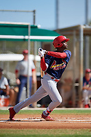 GCL Cardinals center fielder Carlos Soler (43) follows through on a swing during a game against the GCL Marlins on August 4, 2018 at Roger Dean Chevrolet Stadium in Jupiter, Florida.  GCL Marlins defeated GCL Cardinals 6-3.  (Mike Janes/Four Seam Images)