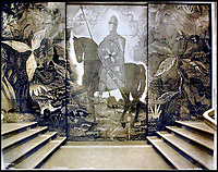 BNPS.co.uk (01202 558833)<br /> Pic:    CanterburyAuctionGalleries/BNPS<br /> <br /> The sliding door to the chapel in First Class decorated with a mounted Norman knight.<br /> <br /> Remarkable photos of the iconic ocean liner SS Normandie which was like a 'floating palace' have come to light over 80 years later.<br /> <br /> The giant 1,000ft long French passenger ship was the largest of her type in the world and won the coveted 'Blue Riband' for the fastest crossing of the Atlantic.<br /> <br /> English photographer Percy Byron's photos show the liner's luxurious 'Art Deco' interior with its chandeliers and pillars of Lalique glass.<br /> <br /> The vessel, which launched in 1935, even boasted its own swimming pool and a gym where young women can be seen doing aerobics while a man in a suit trains with a punch bag.