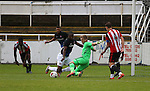 George Long of Sheffield Utd makes a save with his feet during the U23 Professional Development League Two match at the Local Look Stadium, Sheffield. Picture date: September 26th, 2016. Pic Simon Bellis/Sportimage