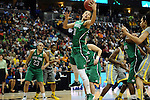 03 APR 2012: Natalie Achonwa (11) of the University of Notre Dame grabs a rebound against Baylor during the Division I Women's Basketball Championship held at the Pepsi Center in Denver, CO. Stephen Nowland/NCAA Photos