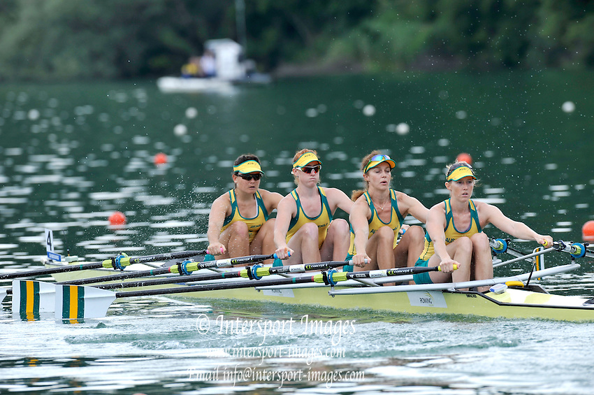 Lucerne SWITZERLAND,  AUS W4X. Bow Sally KEHOE, Sarah COOK, Brooke PRATLEY and Amy IVES, at the   2011 FISA World Cup on the Lake Rotsee.  15:06:28  Saturday   09/07/2011   [Mandatory Credit Peter Spurrier/ Intersport Images]