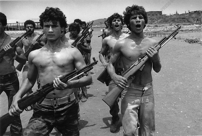 Palestinians in training, Lebanon, 1976