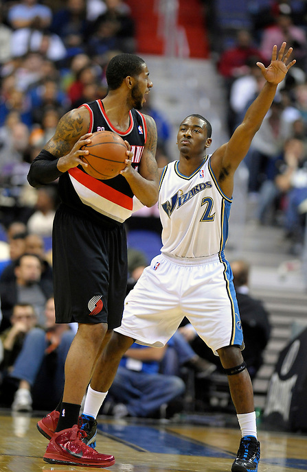 John Wall of the Wizards looks  to defend the basket. Washington defeated Portland 83-79 at the Verizon Center in Washington, DC on Friday, December 3, 2010. Alan P. Santos/DC Sports Box
