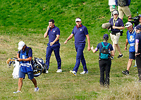 Rory McIlroy (Team Europe) Ian Poulter (Team Europe) coming off the 9th during the friday foursomes at the Ryder Cup, Le Golf National, Ile-de-France, France. 28/09/2018.<br /> Picture Fran Caffrey / Golffile.ie<br /> <br /> All photo usage must carry mandatory copyright credit (&copy; Golffile | Fran Caffrey)