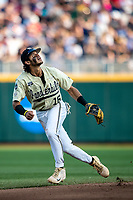 Vanderbilt Commodores third baseman Austin Martin (16) on defense against the Louisville Cardinals in the NCAA College World Series on June 21, 2019 at TD Ameritrade Park in Omaha, Nebraska. Vanderbilt defeated Vanderbilt defeated Louisville 3-2 to head to the CWS Finals. (Andrew Woolley/Four Seam Images)