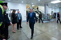 United States Senator Roy Blunt (Republican of Missouri) walks through the Senate Subway to attend a closed door briefing in the Senate SCIF with United States Secretary of State Mike Pompeo, United States Secretary of Defense Dr. Mark T. Esper, Gina Haspel, Director, Central Intelligence Agency (CIA), United States Army General Mark A. Milley, Chairman of the Joint Chiefs of Staff, and Acting Director of Intelligence Joseph Maguire at the United States Capitol in Washington D.C., U.S., on Wednesday, January 8, 2020.  97 senators were said to have attended the briefing, which discussed the U.S. drone strike on Iranian military leader Qasem Soleimani and the issue of Congressional authorization for such acts.<br /> <br /> Credit: Stefani Reynolds / CNP/AdMedia