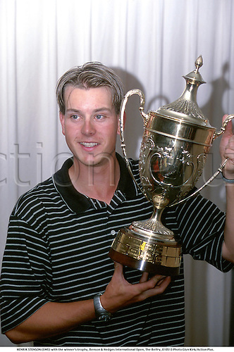 HENRIK STENSON (SWE) with the winner's trophy, Benson & Hedges International Open, The Belfry, 010513 Photo:Glyn Kirk/Action Plus....2001.Golf.portrait.golfer golfers