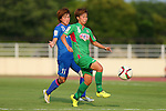 (L to R) <br /> Misaki Nara (Elfen), <br /> Mina Tanaka (Beleza), <br /> JULY 12, 2015 - Football / Soccer : <br /> 2015 Plenus Nadeshiko League Division 1 <br /> between NTV Beleza 1-0 AS Elfen Saitama <br /> at Hitachinaka Stadium, Ibaraki, Japan. <br /> (Photo by YUTAKA/AFLO SPORT)