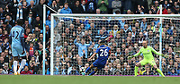 Leicester City's Riyad Mahrez slips as he takes a penalty   resulting in Referee Bobby Madley disallowing the goal for making contact with the ball twice<br /> <br /> Photographer Stephen White/CameraSport<br /> <br /> The Premier League - Manchester City v Leicester City - Saturday 13th May 2017 - Etihad Stadium - Manchester<br /> <br /> World Copyright &copy; 2017 CameraSport. All rights reserved. 43 Linden Ave. Countesthorpe. Leicester. England. LE8 5PG - Tel: +44 (0) 116 277 4147 - admin@camerasport.com - www.camerasport.com