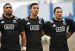 Joe Edwards, Sean Wainui, Codey Rei. Maori All Blacks vs. Fiji. Suva. MAB's won 27-26. July 11, 2015. Photo: Marc Weakley