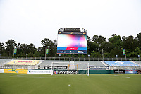 Cary, North Carolina  - Wednesday May 24, 2017: View of the south stand and video board of Sahlen's Stadium prior to a regular season National Women's Soccer League (NWSL) match between the North Carolina Courage and the Sky Blue FC at Sahlen's Stadium at WakeMed Soccer Park. The Courage won the game 2-0.