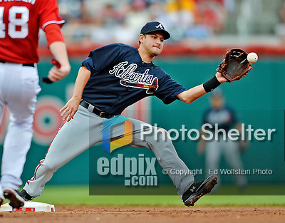 22 July 2012: Atlanta Braves infielder Paul Janish gets Ross Detwiler out at second during action against the Washington Nationals at Nationals Park in Washington, DC. The Braves fell to the Nationals 9-2 splitting their 4-game weekend series. Mandatory Credit: Ed Wolfstein Photo