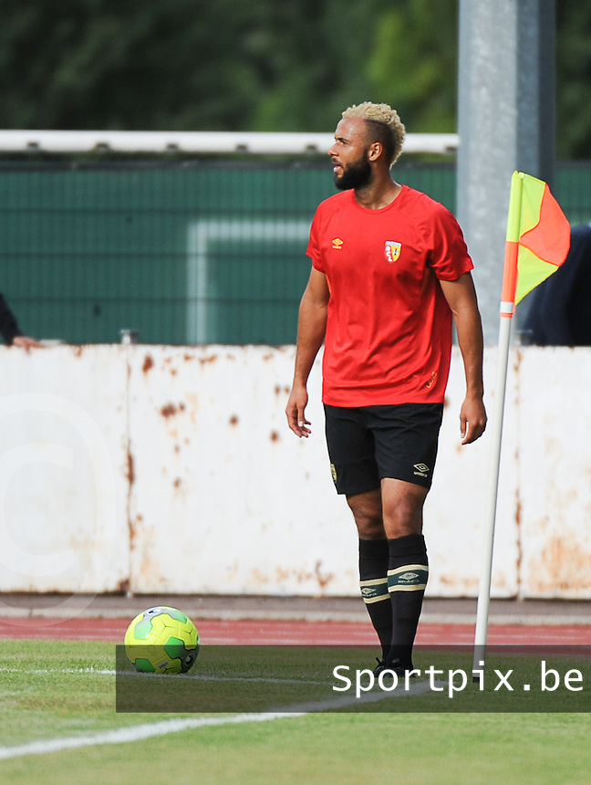 20160713 - DOUAI , FRANCE : RC Lens' John Bostock pictured during a friendly game between Racing Club de LENS and Waasland Beveren during the preparations for the 2016-2017 season , Wednesday 13 July 2016 ,  PHOTO Dirk Vuylsteke | Sportpix.Be