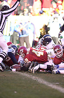 The official signals a touchdown asChiefs Full Back Tony Richardson plunges into the end zone against the San Diego Chargers in the final minutes of the game at Arrowhead Stadium in Kansas City, Missouri on December 23, 2001.  The Chiefs won 20-17.