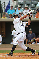Charleston Riverdogs designated hitter Gary Sanchez #35 at bat during a game against the Savannah Sand Gnats at Joseph P. Riley Jr. Park on May 16, 2012 in Charleston, South Carolina. Charleston defeated Savannah by the score of 14-5. (Robert Gurganus/Four Seam Images)