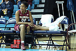 31 January 2013: Florida State's Chasity Clayton watches the second half on the bench with her injured ankle wrapped in ice. The University of North Carolina Tar Heels played the Florida State University Seminoles at Carmichael Arena in Chapel Hill, North Carolina in an NCAA Division I Women's Basketball game. UNC won the game 72-62.