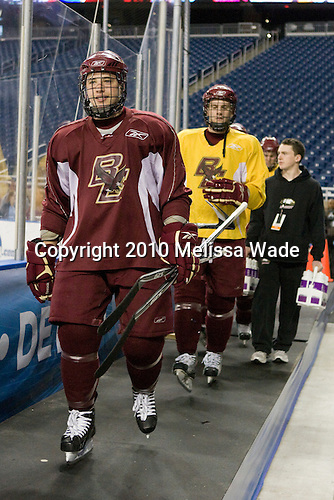 Cam Atkinson (BC - 13), Paul Carey (BC - 22) - The Boston College Eagles practiced on Wednesday, April 7, 2010, at Ford Field in Detroit, Michigan to prepare for their 2010 Frozen Four Semi-Final.