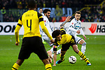 09.02.2019, Signal Iduna Park, Dortmund, GER, 1.FBL, Borussia Dortmund vs TSG 1899 Hoffenheim, DFL REGULATIONS PROHIBIT ANY USE OF PHOTOGRAPHS AS IMAGE SEQUENCES AND/OR QUASI-VIDEO<br /> <br /> im Bild | picture shows:<br /> Axel Witsel (Borussia Dortmund #28) gegen Leonardo Bittencourt (Hoffenheim #13) und Dennis Geiger (Hoffenheim #8),  <br /> <br /> Foto © nordphoto / Rauch