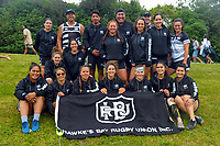 The Hawkes Bay Women's team on day one of the 2018 Bayleys National Sevens at Rotorua International Stadium in Rotorua, New Zealand on Saturday, 13 January 2018. Photo: Dave Lintott / lintottphoto.co.nz