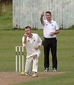 Cricket Scotland National League Final - Prestwick CC V Heriots CC at Meikleriggs, Paisley (Ferguslie CC) - Prestwick's Michell Rao celebrates another wicket as umpire Sean Els signals out - picture by Donald MacLeod - 20.08.2017 - 07702 319 738 - clanmacleod@btinternet.com - www.donald-macleod.com