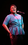 Alex Newell performing at the Dramatists Guild Foundation toast to Stephen Schwartz with a 70th Birthday Celebration Concert at The Hudson Theatre on April 23, 2018 in New York City.