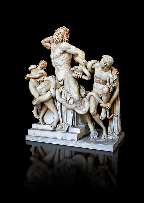 Statue group identified as as the Laocoon described by Pliny as a masterpiece made by the sculptors of Rhodes. The Laocoon depicts a scene from the Trojan War in which Athena and Poseidon sent two great serpants to wrap themselves around Laocoon and his two sons to kill them. Circa 40-30BC, Pope Clement XIV coillection, Vatican Museum Rome, Italy,  black background